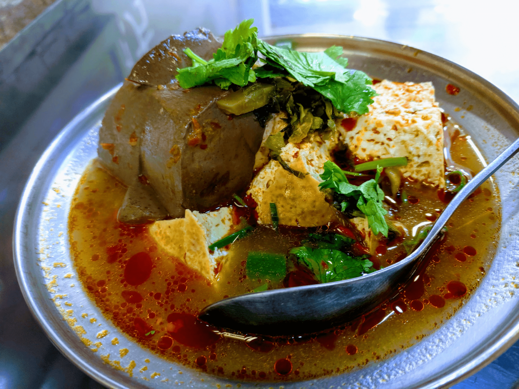 Stinky tofu and duck blood soup on Shenkeng Old Street.